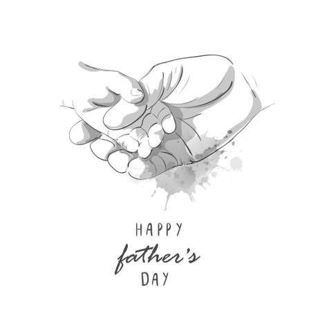 Happy Fathers Day. Father holding childs hand