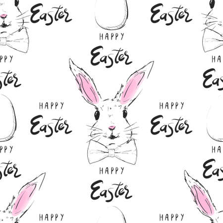 Happy Easter pattern. Easter bunny and Easter eggs seamless pattern. Vector