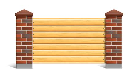 Fence with brick pillars and wood. Vector eps10