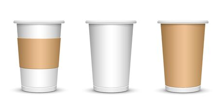 A mock-up of a cardboard coffee cup on a white insulated background. Vector illustration eps10