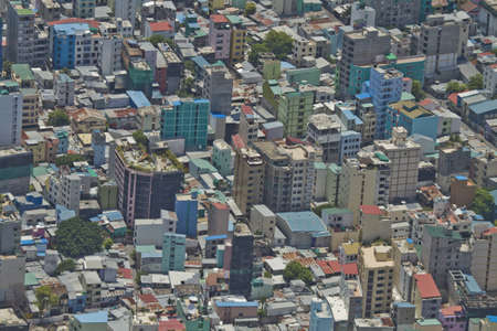 An aerial view of the capital city of the Maldives, Male