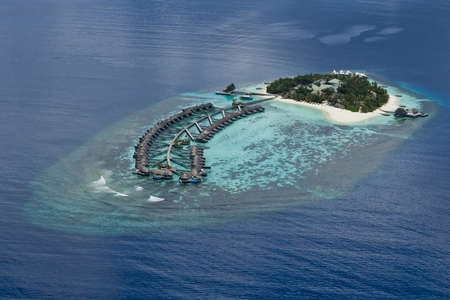 Resort on top coral reef atolls in Maldives