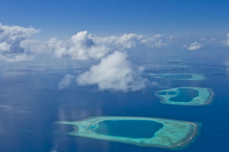Coral reef atolls in Maldives