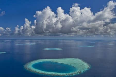 Coral reef atolls in Maldives