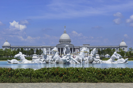 Tainan City, Taiwan - 2015 June 12th: The Apollo Fountain Plaza of Chimei art Museum in Tainan City, Taiwan. The statues are made of Italian Carrara marble. Editorial