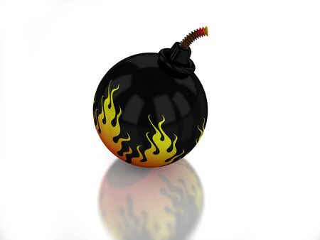 3D bomb with flame on white background Stock Photo