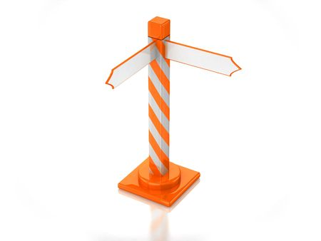 3D orange stripped road sign with white background