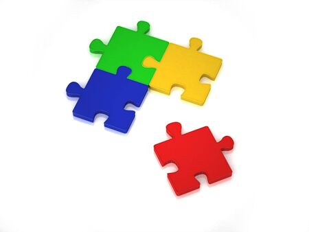 3D solved puzzle from blue, red, green and yellow pieces
