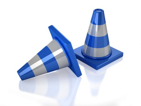 Two 3D blue stripped cones with white background Banco de Imagens