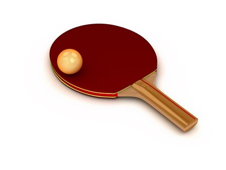 3d ping-pong racket with ball isolated on white background Banco de Imagens