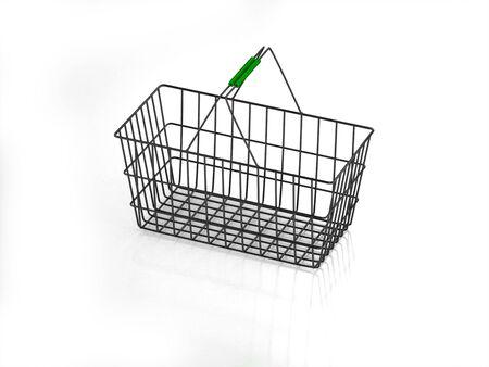 3D empty shopping basket on white background