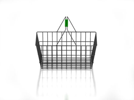 3D empty shopping basket on white background