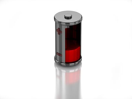 3D empty battery on white background Banco de Imagens