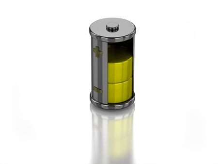 3D half charged battery on white background Banco de Imagens