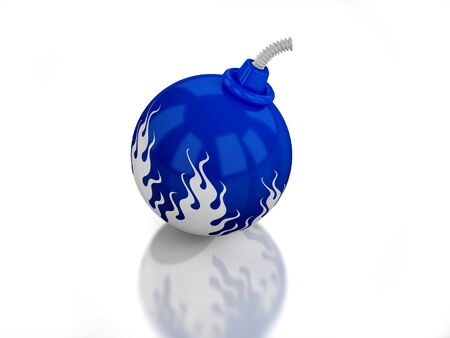 3D blue bomb with flame on white background