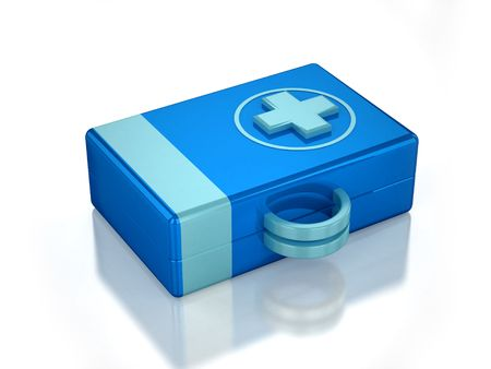 3D blue first aid kit with white background Stock Photo