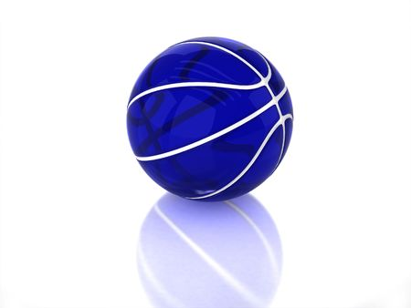 3D blue transparent glossy basketball with white strips, texture and reflection on white background