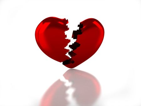 3D glossy broken heart with white background