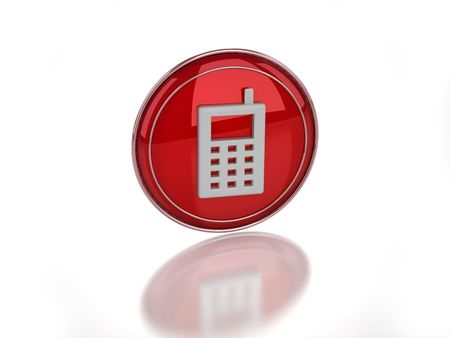 3D disabled mobile telephone icon on white background