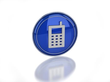 3D enabled mobile telephone icon on white background
