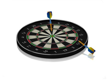 3D dartboard with two darts and white background Stock Photo