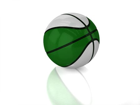 3D green and white basketball with black strips, texture and reflection on white background