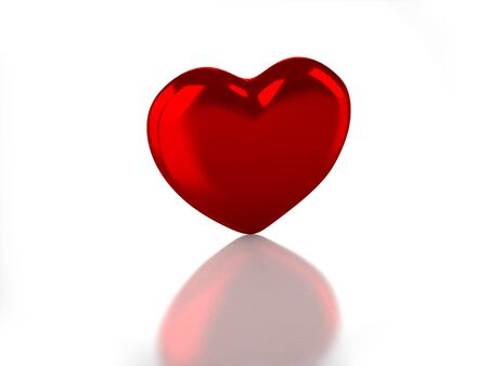 3D glossy heart with white background