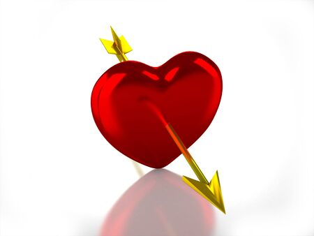 3D glossy heart with arrow on white background