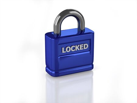 3D blue closed lock with white background  Banco de Imagens