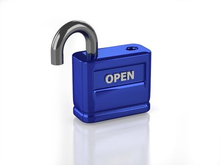 3D blue open lock with white background