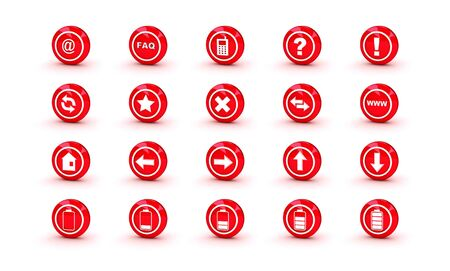 Red shiny gloss icons for web design isolated on white background
