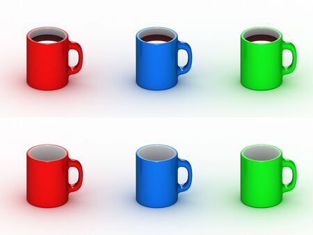 3D colorful cups with coffee and empty