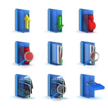 3d raster folders icons isolated on white background Stock Photo