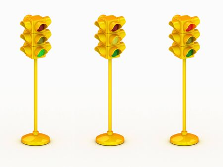 3d yellow traffic light isolated on white background Stock Photo