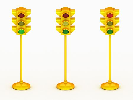 3d yellow traffic light isolated on white background Banco de Imagens