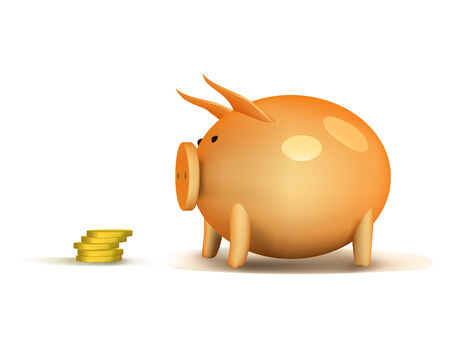 3d piggy bank style money box isolated on a white background