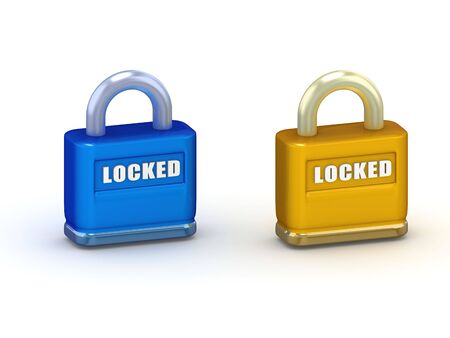 Illustration of blue and gold closed 3d padlocks isolated on white Banco de Imagens