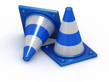 Two 3D blue stripped cones with white background Stock Photo