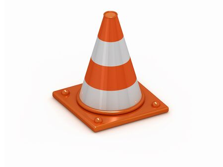 3D orange stripped cone with white background