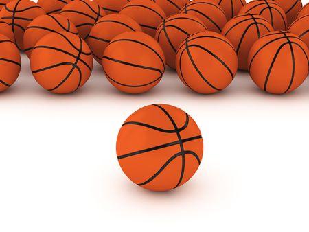 3d basketballs on white ground   Фото со стока
