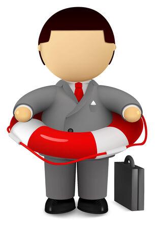 Businessman holding life belt