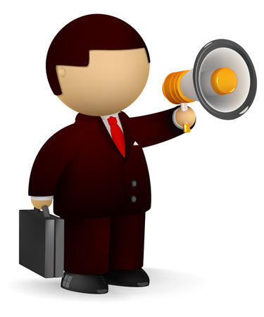 Businessman speaking in a megaphone  Ilustra��o