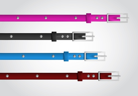 fastener: Slim leather belts set Illustration