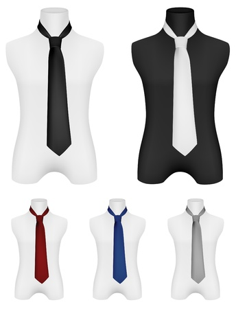 Necktie on mannequin template  Illustration