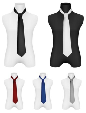 bosom: Necktie on mannequin template  Illustration