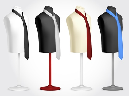 male model torso: Necktie on mannequin template  Illustration