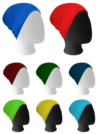 Warm knitted hat on mannequin head template Illustration