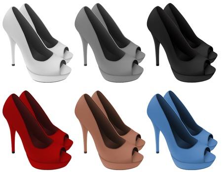 Couro mulheres s sapatos de salto alto