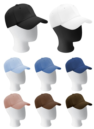 Mannequin heads with blank baseball cap template