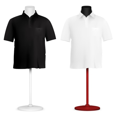 male model torso: Plain polo shirt on mannequin torso template  Illustration